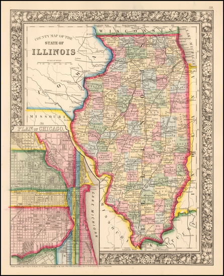 84-Illinois Map By Samuel Augustus Mitchell Jr.