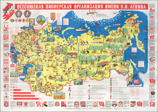 48-Russia, Pictorial Maps and Russia in Asia Map By GUGK  (ГУГК)