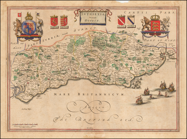51-British Counties Map By Johannes Blaeu