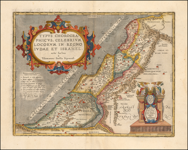 14-Holy Land Map By Abraham Ortelius