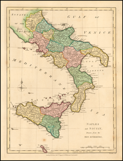 52-Southern Italy and Sicily Map By Robert Wilkinson