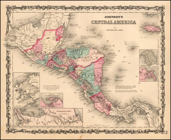 36-Central America Map By Alvin Jewett Johnson  &  Benjamin P Ward