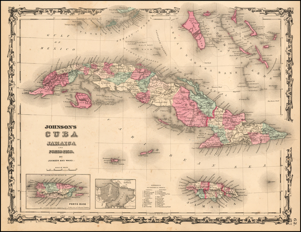 80-Caribbean and Cuba Map By Benjamin P Ward  &  Alvin Jewett Johnson