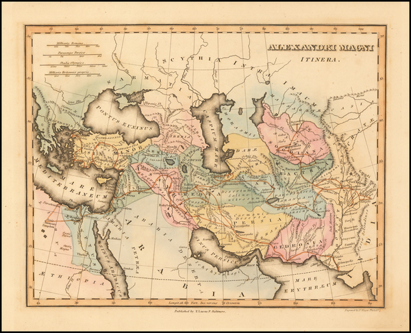 6-Turkey, Middle East, Persia and Turkey & Asia Minor Map By Fielding Lucas Jr.