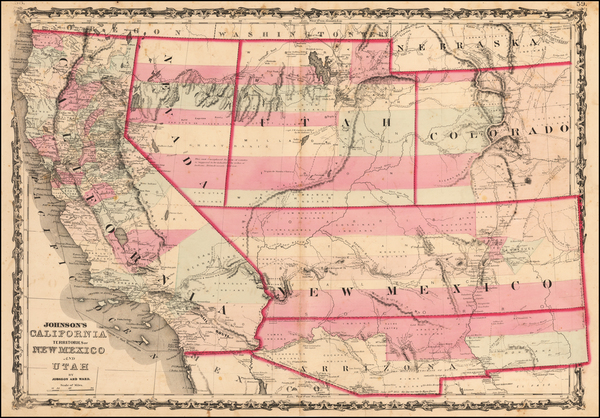 18-Arizona, Colorado, Utah, Nevada, New Mexico, Colorado, Utah and California Map By Benjamin P Wa