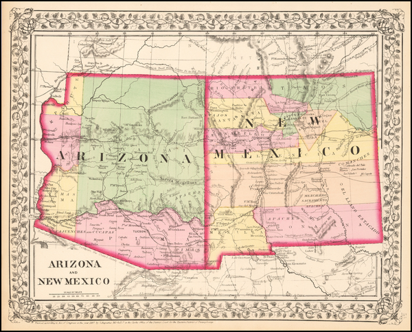 6-Arizona and New Mexico Map By Samuel Augustus Mitchell Jr.