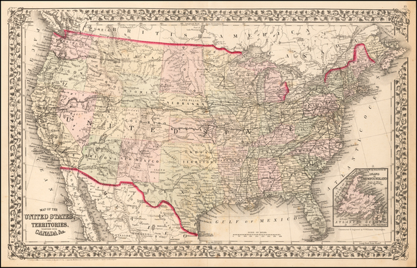 65-United States Map By Samuel Augustus Mitchell Jr.