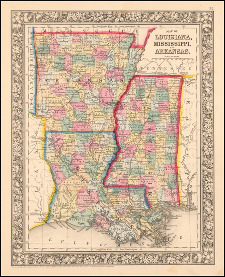 87-South Map By Samuel Augustus Mitchell Jr.