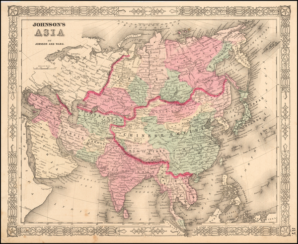 70-Asia and Asia Map By Benjamin P Ward  &  Alvin Jewett Johnson