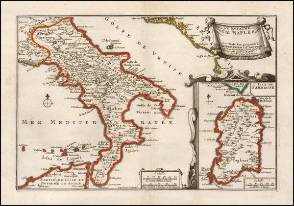 95-Southern Italy and Sardinia Map By Nicolas de Fer