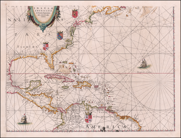 32-Atlantic Ocean, Mid-Atlantic, Florida, Southeast and Caribbean Map By Willem Janszoon Blaeu