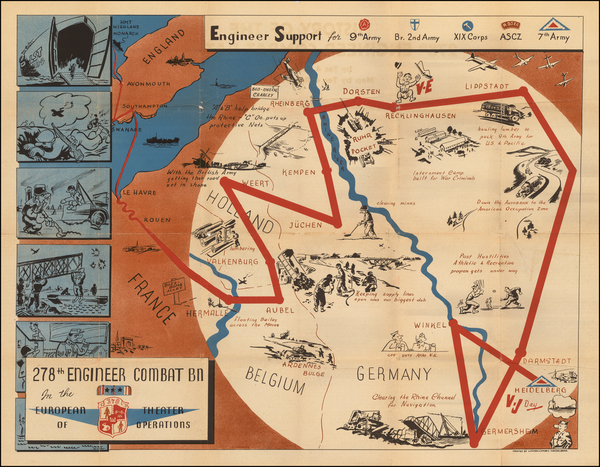 43-Western Europe, Germany and Pictorial Maps Map By