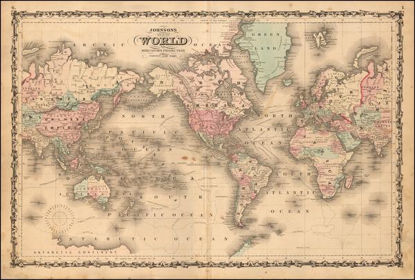 65-World and World Map By Benjamin P Ward  &  Alvin Jewett Johnson