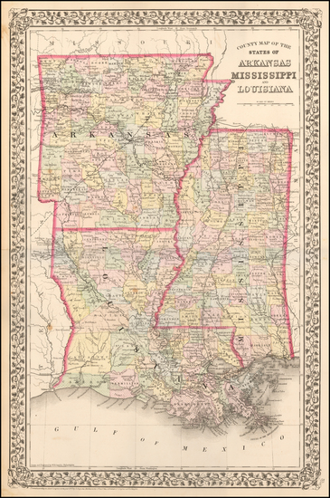 60-Louisiana, Mississippi and Arkansas Map By Samuel Augustus Mitchell Jr.