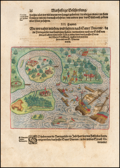 12-Brazil Map By Theodor De Bry