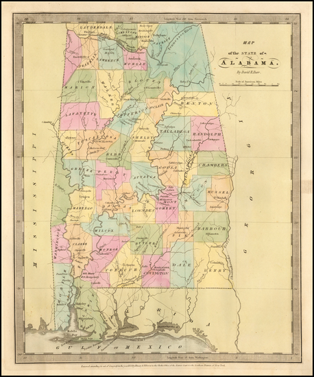 44-Alabama Map By David Hugh Burr