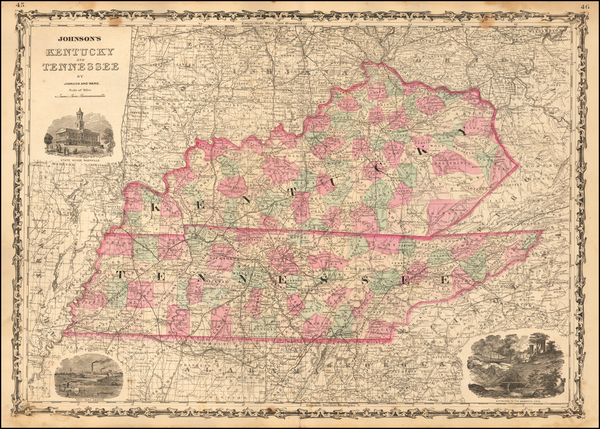 45-Kentucky and Tennessee Map By Alvin Jewett Johnson