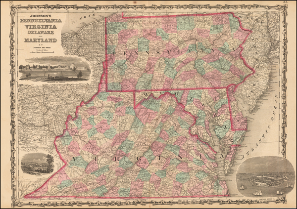 91-Pennsylvania, Maryland, Delaware and Virginia Map By Benjamin P Ward / Alvin Jewett Johnson