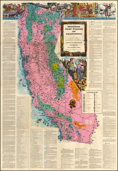 40-Pictorial Maps and California Map By Lowell Butler