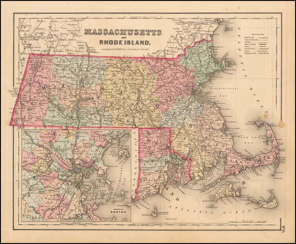 69-New England, Massachusetts and Rhode Island Map By Joseph Hutchins Colton