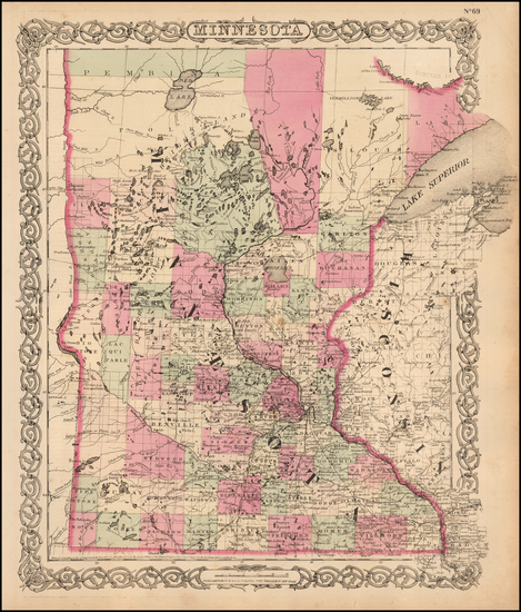 27-Minnesota Map By G.W.  & C.B. Colton