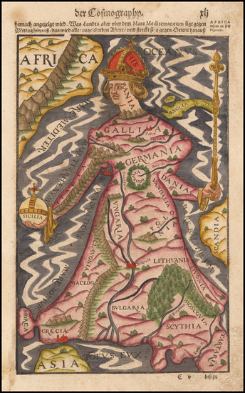 3-Europe and Comic & Anthropomorphic Map By Sebastian Munster