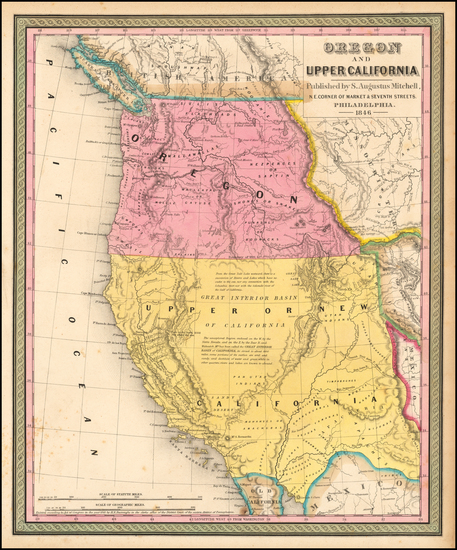 63-Southwest, Rocky Mountains, Pacific Northwest and California Map By Samuel Augustus Mitchell