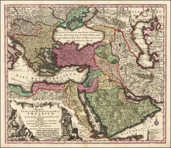 4-Turkey, Mediterranean, Middle East and Turkey & Asia Minor Map By Matthaus Seutter