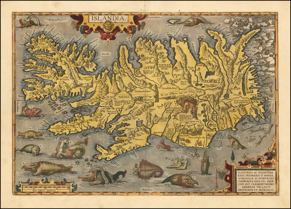 60-Iceland Map By Abraham Ortelius