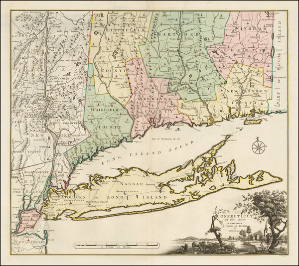 8-New England, Connecticut and New York State Map By Bernard Romans / Mortier, Covens & Zoon