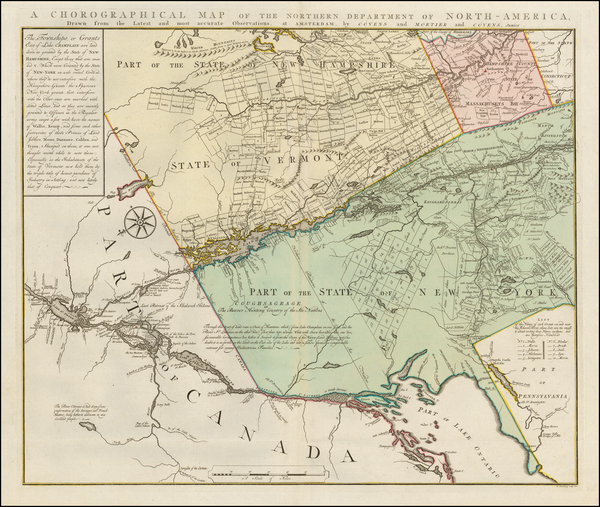 37-New England, Massachusetts, New Hampshire, Vermont, New York State and Canada Map By Bernard Ro