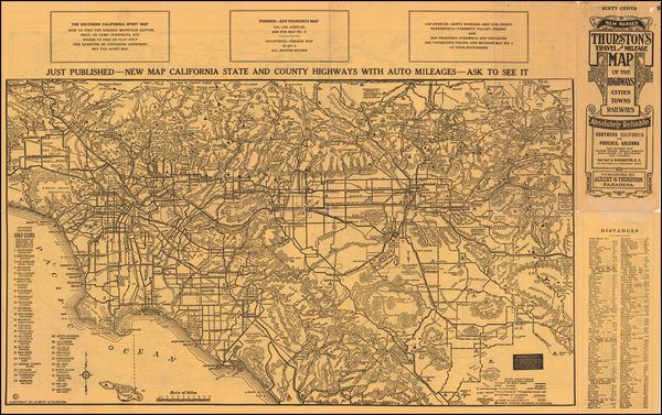 66-Arizona, Nevada and California Map By George H.  Rock