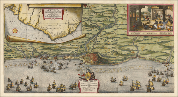 68-Brazil Map By Nicolaes Visscher I