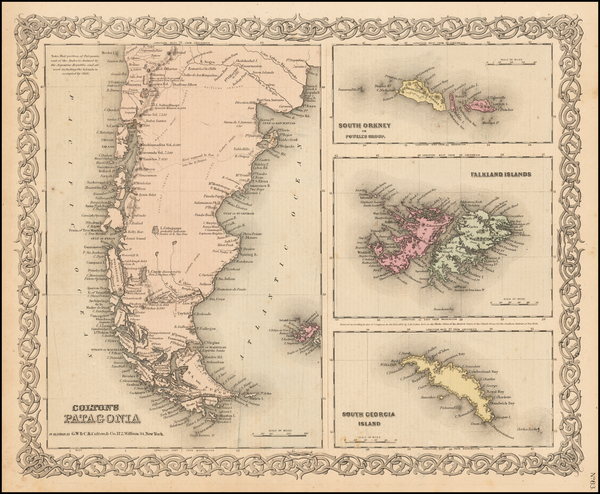 52-South America Map By Joseph Hutchins Colton