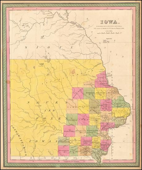 77-Iowa Map By Samuel Augustus Mitchell