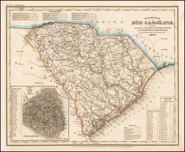 38-South Carolina Map By Joseph Meyer  &  Carl Radefeld