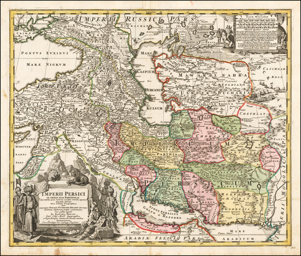 13-Central Asia & Caucasus, Middle East, Persia and Turkey & Asia Minor Map By Johann Bapt