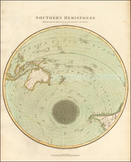 80-Southern Hemisphere, Polar Maps and Oceania Map By John Thomson