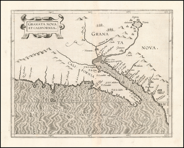 46-Southwest, Mexico, Baja California and California Map By Cornelis van Wytfliet