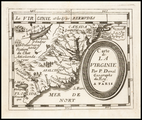 34-Southeast, Virginia, North Carolina and South Carolina Map By Pierre Du Val