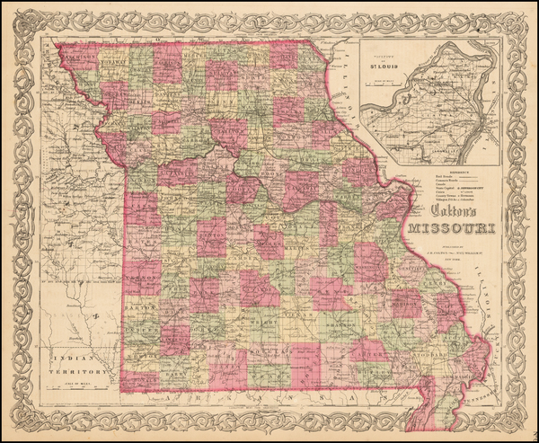 43-Midwest, Plains and Missouri Map By Joseph Hutchins Colton