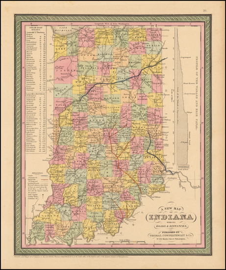 96-Indiana Map By Thomas, Cowperthwait & Co.
