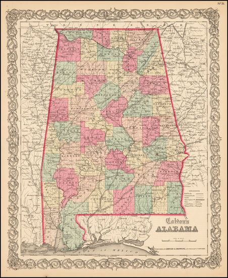 61-South and Alabama Map By Joseph Hutchins Colton