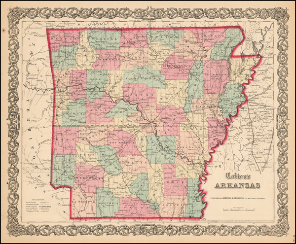 68-Arkansas Map By Joseph Hutchins Colton
