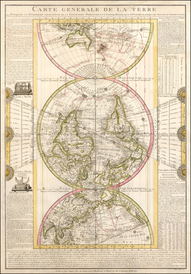 World, Polar Maps, Curiosities and Celestial Maps Map By Louis Flecheux