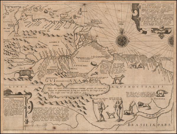 South America, Guianas & Suriname and Venezuela Map By Theodor De Bry