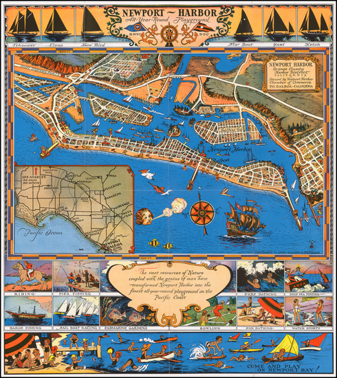73-Pictorial Maps, California and Other California Cities Map By Claude Putnam