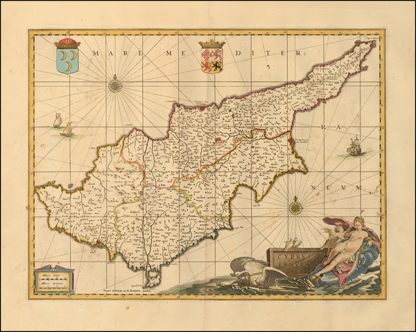 Cyprus Map By Peter Schenk  &  Gerard Valk