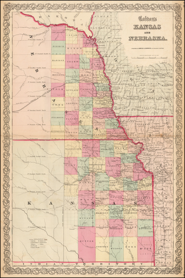 76-Kansas and Nebraska Map By Joseph Hutchins Colton