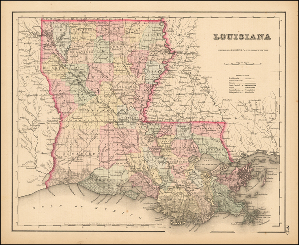 47-Louisiana Map By Joseph Hutchins Colton